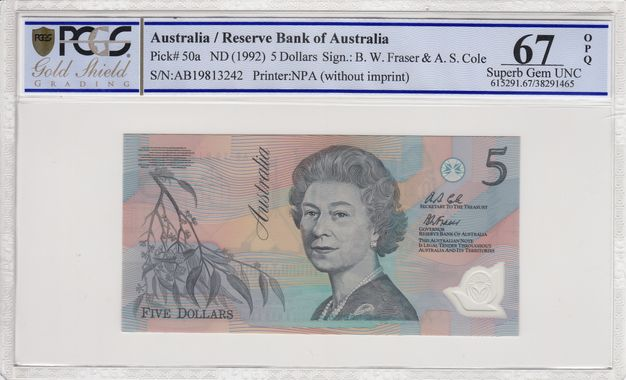 Cert 38291465 - Banknote Obverse