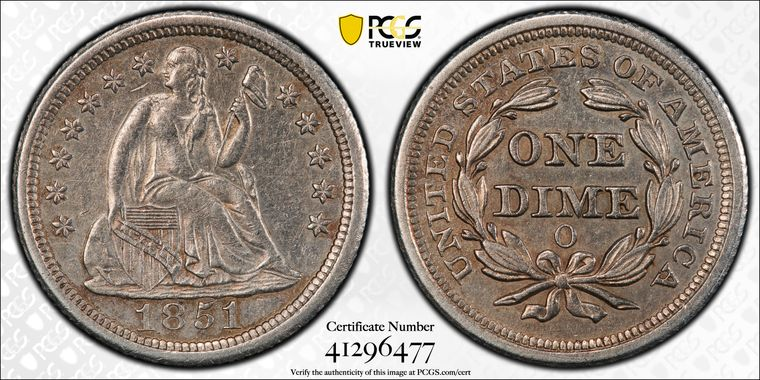 GFRC Open Set Registry - Coulombe Family 1851 Seated  10C